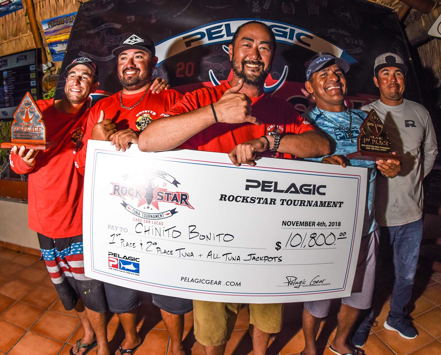 Chinito Bonito winning check 2 Pelagic Rockstar Tuna Tournament