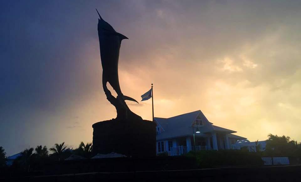 Sunset_Chub Cay Bahamas_Marlin Statue